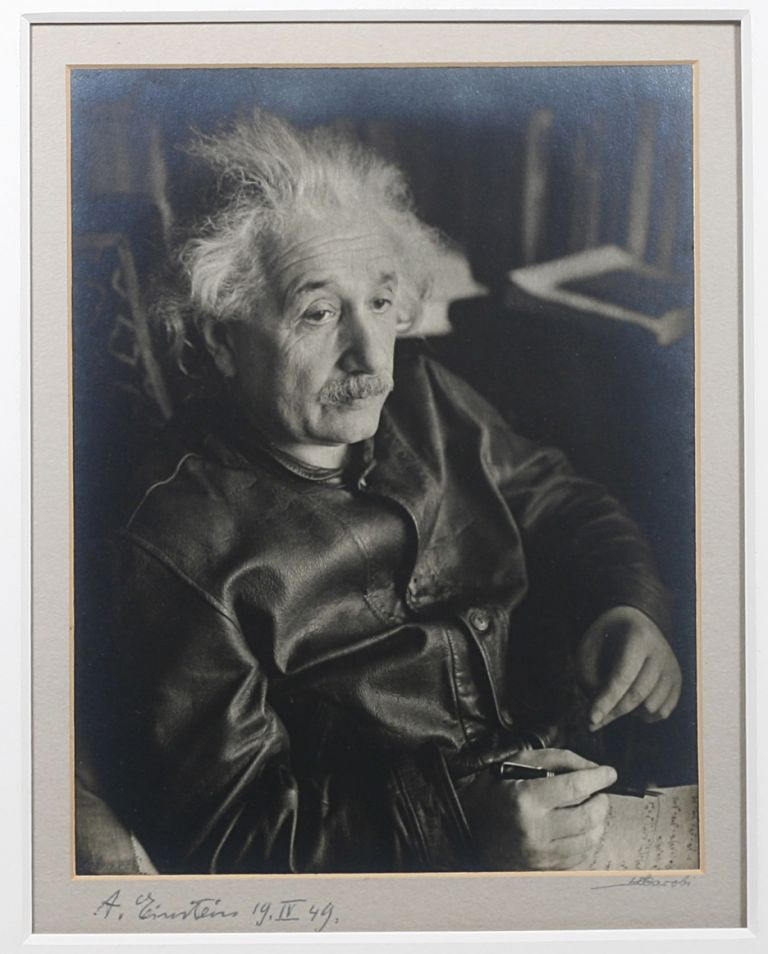 Original Silver Print Signed Photograph of Einstein by Lotte Jacobi. ALBERT EINSTEIN, LOTTE JACOBI.