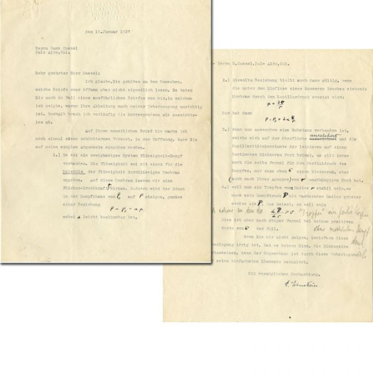 Typed Letter Signed with Hand Corrections. ALBERT EINSTEIN.