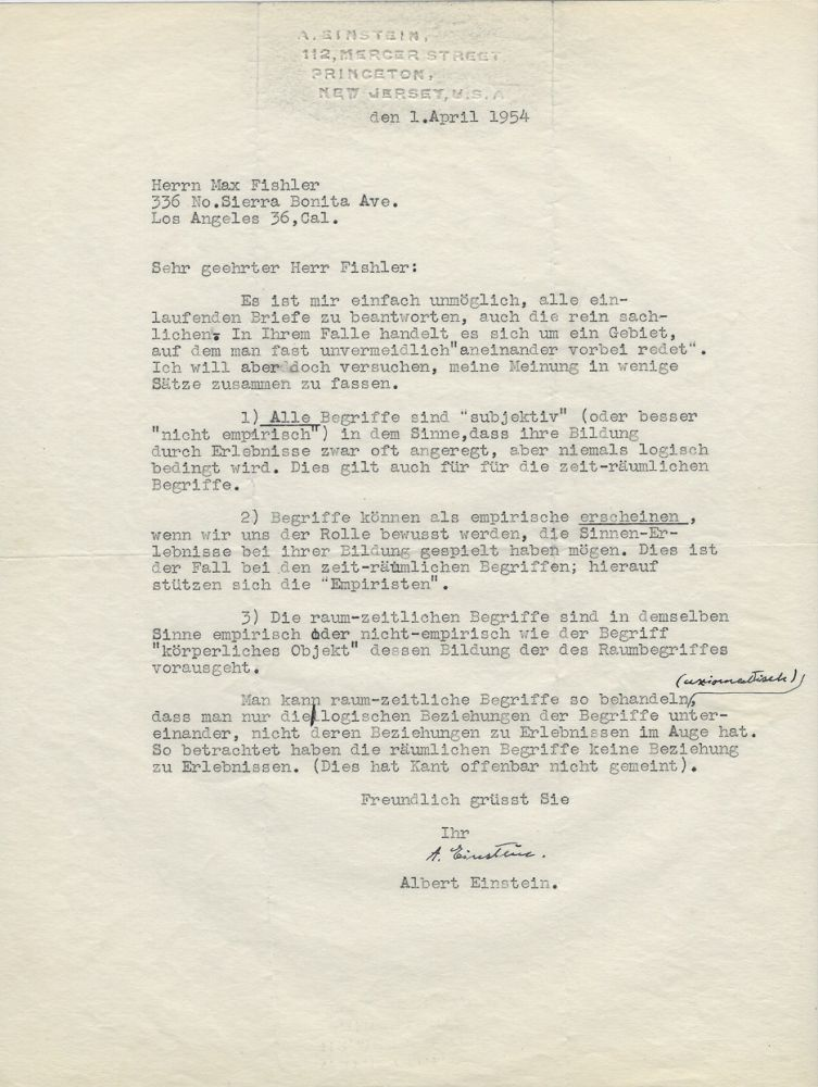 Typed Letter Signed [TLS] to Max Fishler on the Nature of Reality. ALBERT EINSTEIN.