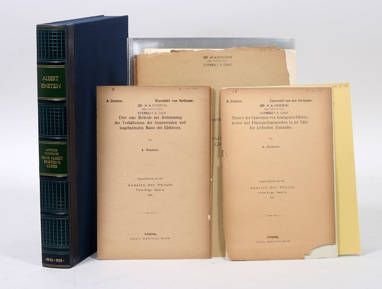 Author offprints (13), from the library of Hans Albert Einstein. ALBERT EINSTEIN.