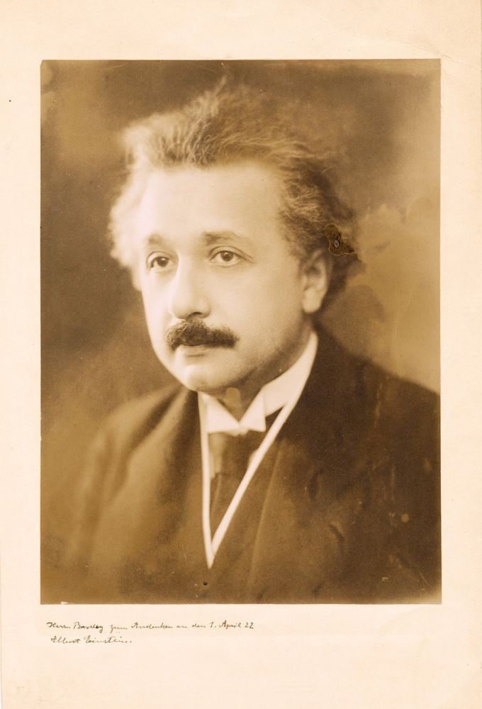 Photograph Signed with Inscription. ALBERT EINSTEIN.