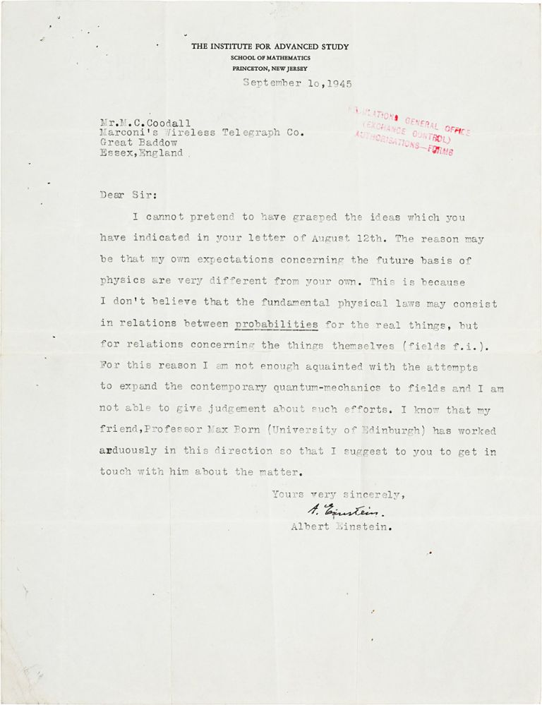 Typed Letter Signed. ALBERT EINSTEIN.