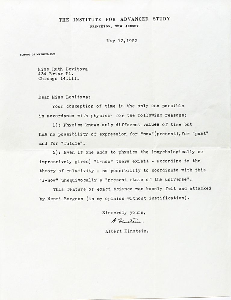 Typed Letter Signed on the Nature of Time