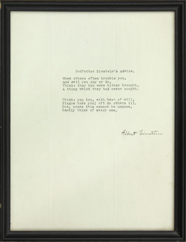 """Godfather Einstein's Advice"": Typed Document Signed. ALBERT EINSTEIN."