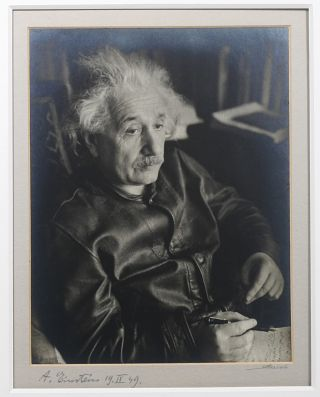 Original Silver Print Signed Photograph of Einstein by Lotte Jacobi. ALBERT EINSTEIN, LOTTE JACOBI