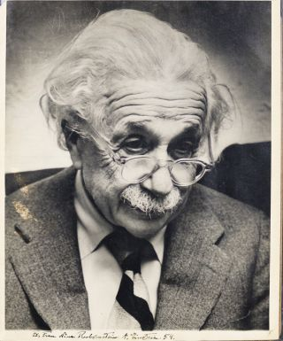 Photograph Signed and Inscribed. ALBERT EINSTEIN