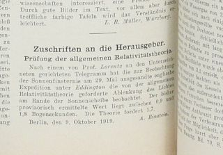Zuschriften an die Herausgeber: Prüfung der allgemeinen Relativitätstheorie [Communication to the Editors: A Test of the General Theory of Relativity]