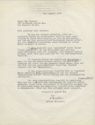 Typed Letter Signed [TLS] to Max Fishler on the Nature of Reality. ALBERT EINSTEIN
