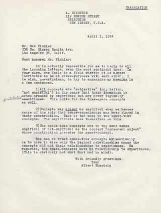 Typed Letter Signed [TLS] to Max Fishler on the Nature of Reality