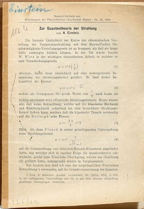 Zur Quantentheorie der Strahlung [On the Quantum Theory of Radiation]. ALBERT EINSTEIN